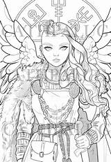 Norse Freya Goddess Coloring Mythology Line Frigg Queen Valkyrie Stamp Digital Venduto Prodotto sketch template