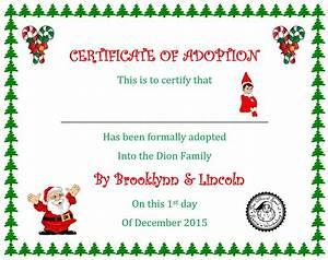 Elf on the shelf way off script for Elf adoption certificate