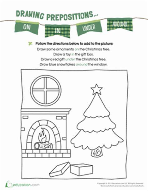 christmas prepositions worksheet education com