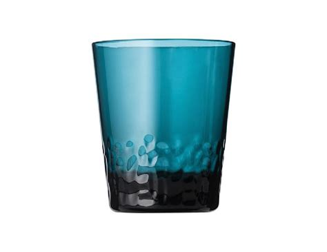 8 Pc Teal Blue Textured Acrylic Drinkware Glass Sets
