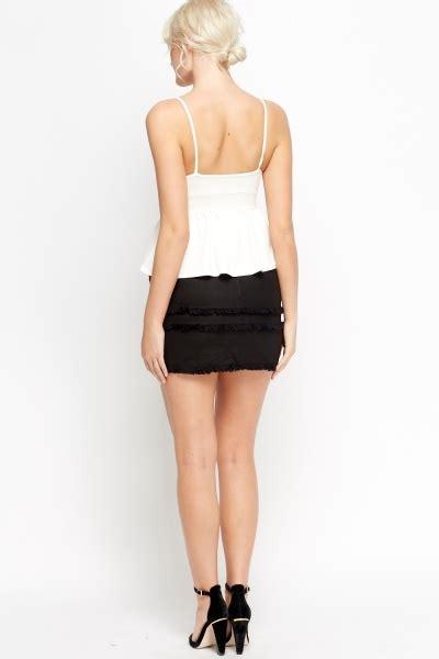 fringe trim mini skirt navy