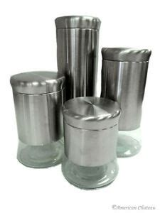 Stainless Steel Kitchen Canister by New Set 4 Canister Large Glass Stainless Steel Kitchen