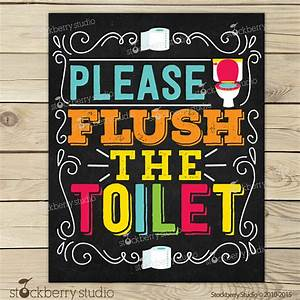 flush the toilet sign printable kids bathroom art With bathroom signs for classroom