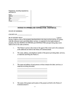 georgia notice of commencement form notice to owner georgia fill online printable fillable