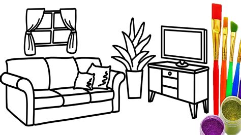 Learn Colors For Childrens With Drawing Livingroom Coloring Pages How To Draw For Kids