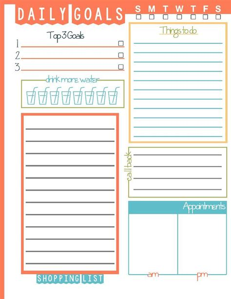image result  daily goals template daily goals
