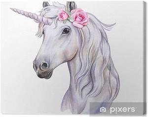 Leinwandbild Einhorn Mit Einem Blumenkranz Weies Pferd