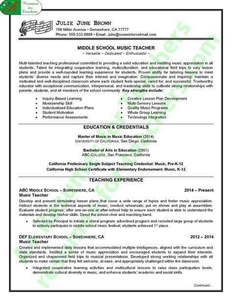 resume music teacher exles music teacher resume sle