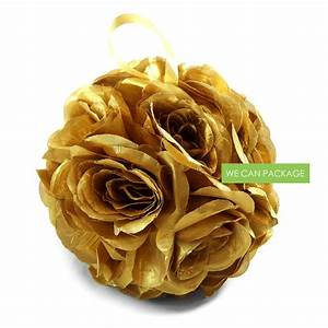 7 Inches Gold Flower Ball Gold Kissing Balls
