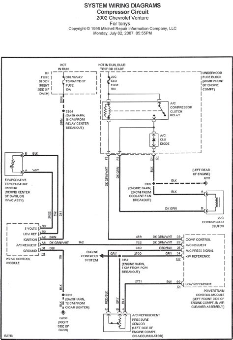 2004 Chevrolet Venture Wiring Diagram by No A C 2002 Chevy Venture Compressor Clutch Not Engaging