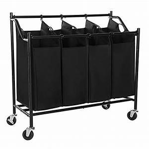 SONGMICS Heavy-Duty 4-Bag Rolling Laundry Sorter Storage ...