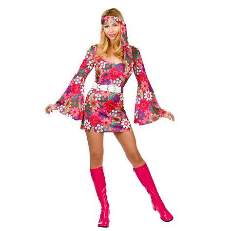 Ladies Womens Hippie Hippy Fancy Dress Costume 60s 70s Groovy Flower Power Outfi | eBay