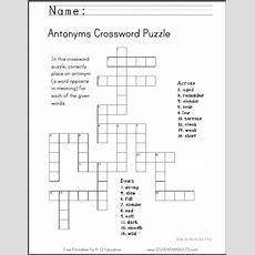 Antonyms Crossword Puzzle, Free To Print (pdf File) Ccss 4v5c; 5v5c; 75b  Ela English