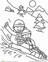 Coloring Sledding Winter Pages Printable Sheets Friends Snow Worksheet Potty Christmas Sled Activities Printables Parents Sheet Kindergarten Education Adult Colouring sketch template
