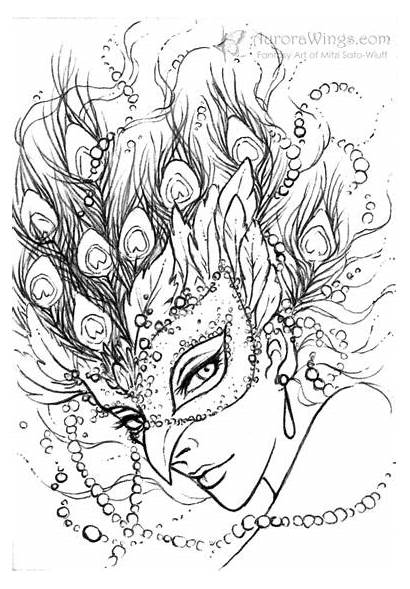 Coloring Pages Adult Colouring Wings Peacock Fantasy