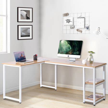 L Table With Storage by Modernluxe L Shaped Computer Desk With Side Storage