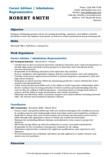 admissions representative resume samples qwikresume