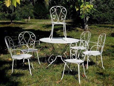 Set Of French Vintage Louis Iron Garden Furniture Table