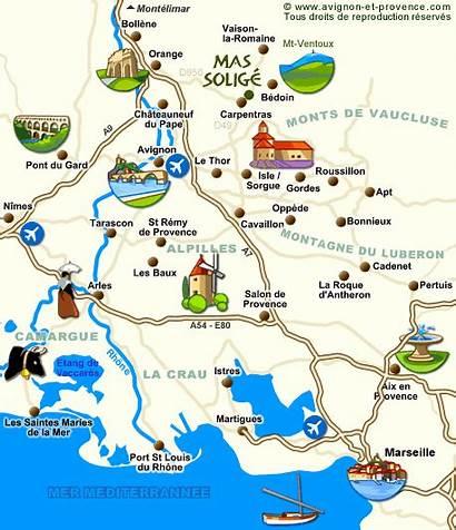 Provence Carte Tourisme Touristique Cartes Mas