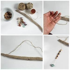 Basteln Mit Steinen : diy wanddeko mit steinen und holzperlen green bird diy ~ Watch28wear.com Haus und Dekorationen