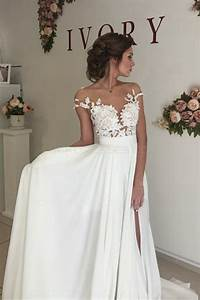 Elegant illusion bodice lace chiffon wedding dresses for Illusion bodice wedding dress