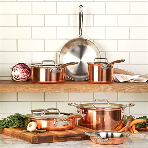 clad copper cookware set  piece  clad  collection cutlery