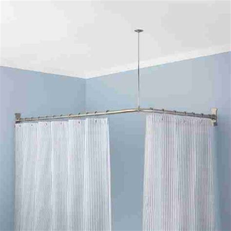 L Shaped Drapery Rod - adjustable l shaped shower curtain rod brushed nickel