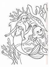 Mermaid Coloring Children Disney sketch template