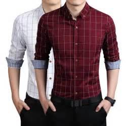 LOCALMODE Men's 100% Cotton Long Sleeve Plaid Slim Fit Button Down Dress Shirt,Navy Blue,Large