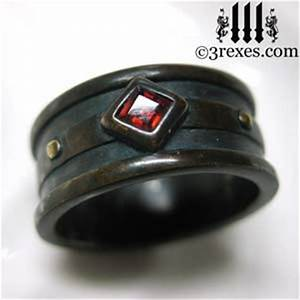 brass moorish gothic 1 stone ring garnet stone stone With gothic mens wedding rings