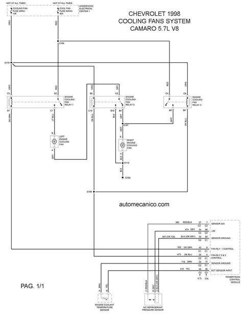 chevrolet cooling fans system diagramas ventiladores abanicos motores 1998 mecanica
