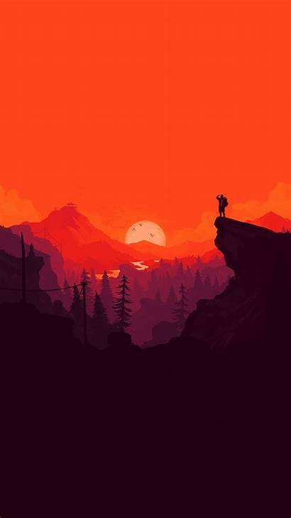 Iphone Simple Minimal Nature Illustration Sunset Wallpapers