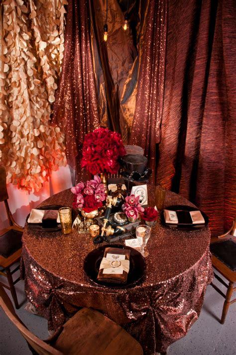 copper steampunk wedding inspiration weddings gold table gorgeous linen decor sequin cloth weddingomania grey