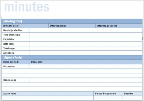 meeting notes template with items the meeting blueprint templates included