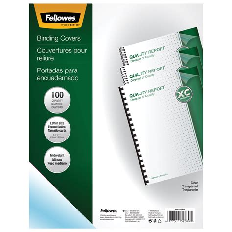 fellowes crystals binding presentation covers letter 100 pack clear 52089 fellowes 52366 binding combs plastic black