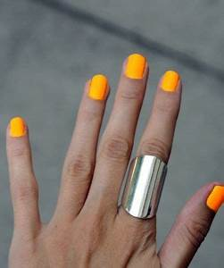 Bright yellow orange nails