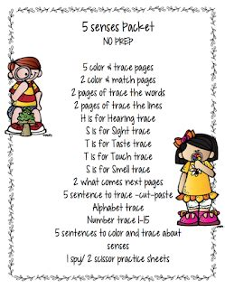 preschool packet 5 senses no prep preschool printables 5 | 11