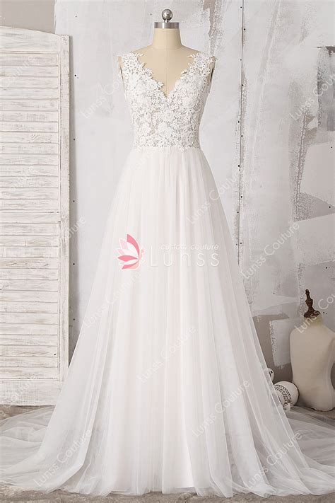 Illusion Light Ivory V Neck Lace Tulle A Line Beach