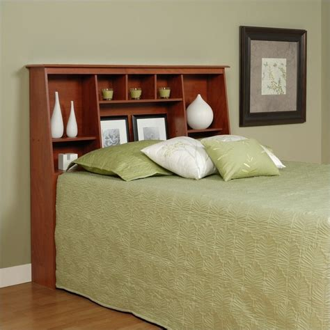 Beds With Bookcase Headboards by Slant Back Bookcase Headboard In Cherry
