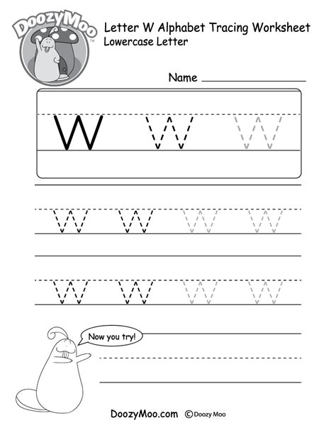 lowercase letter quot w quot tracing worksheet doozy moo