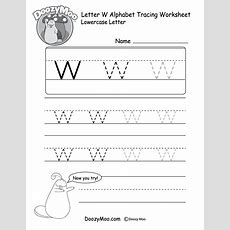 """Lowercase Letter """"w"""" Tracing Worksheet  Doozy Moo"""
