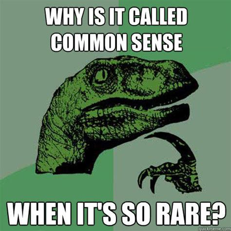 Common Sense Meme - why is it called common sense when it s so rare philosoraptor quickmeme