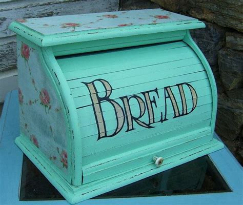 Vintage Roll Up Aqua ROSE Shabby Chic Distressed Bread Box