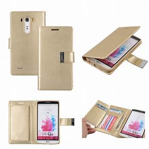 LG G3 Wallet Case Dual Pocket Gold Cover - feelcasefeelcase