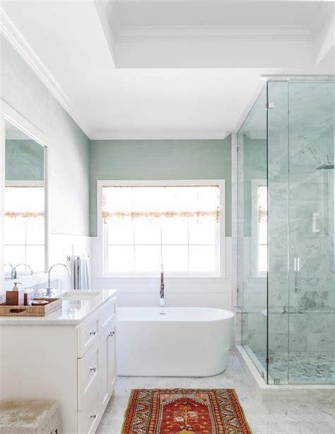 bathroom  green grasscloth transitional bathroom