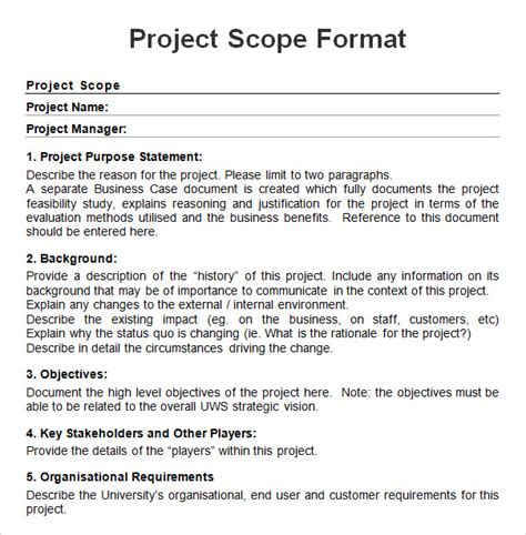 project scope   project scope template