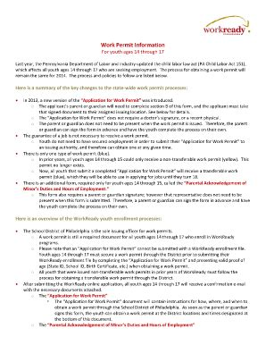 pa work permit form work permit youth pennsylvania fill online printable