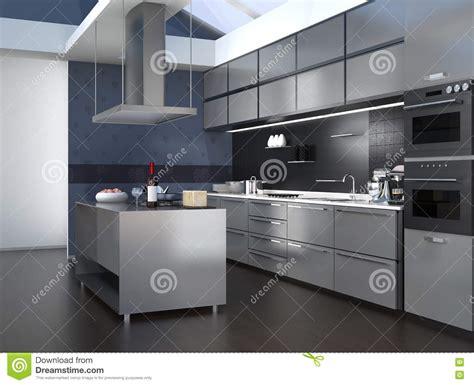 modern kitchen interior  smart appliances  black