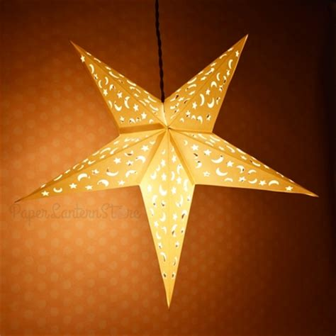 white star moon cut  paper star lantern
