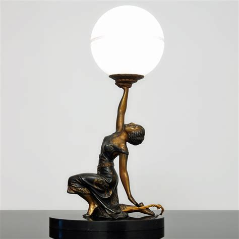 Sculpture Lamp by Original 1930s French Art Deco Lady Sculpture Lamp By